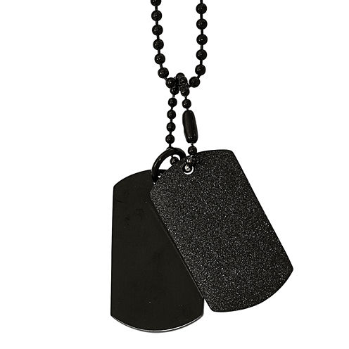 Mens Stainless Steel Black Ion-Plated Double Dog Tag Pendant