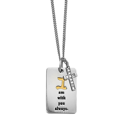 Mens Cubic Zirconia Yellow Ion-Plated Stainless Steel Cross Pendant