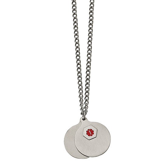 Mens Stainless Steel 2 Piece Medical Pendant