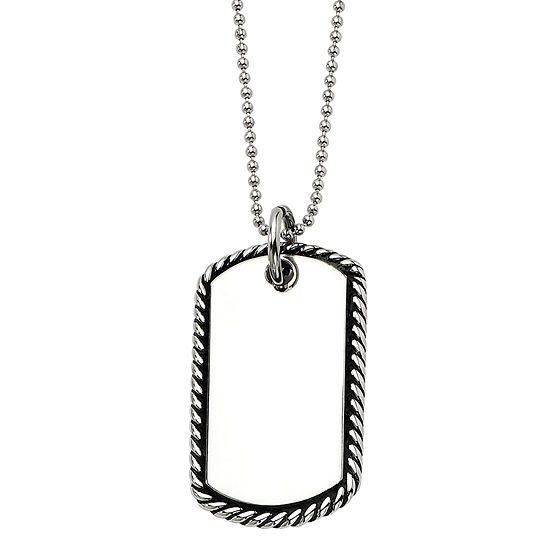 Mens Stainless Steel Twisted Rope Edge Dog Tag Pendant