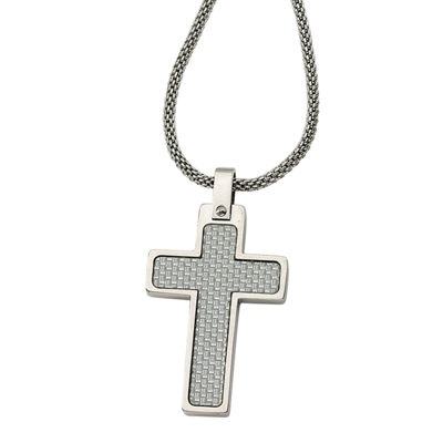 Mens Stainless Steel Grey Carbon Fiber Cross Pendant