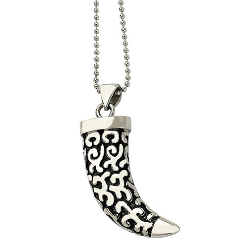 Mens Stainless Steel Antiqued Fancy Claw Pendant