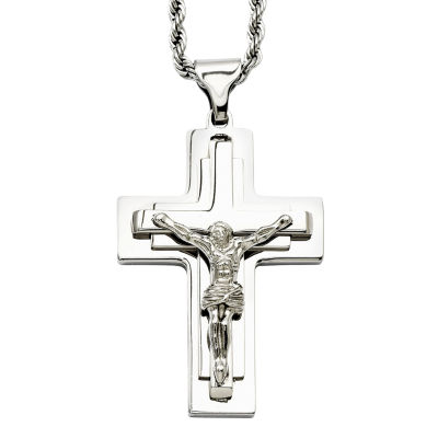 Mens Stainless Steel Crucifix Pendant