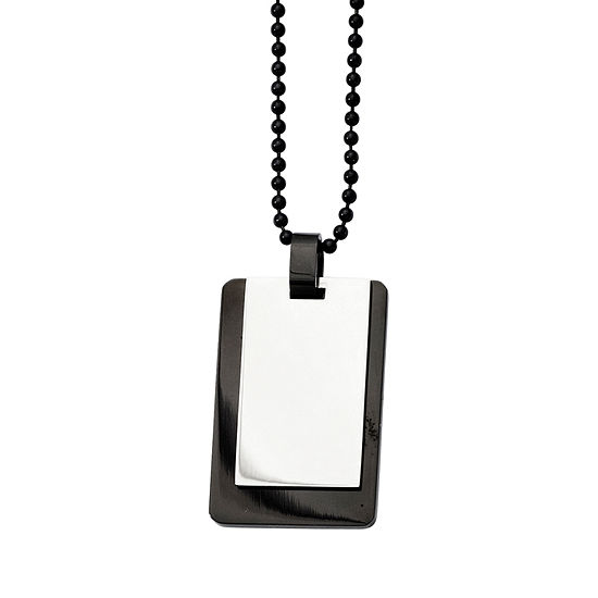 Mens Stainless Steel Black Ion-Plated Dog Tag Pendant