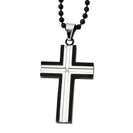 Mens Cubic Zirconia Black Ion Plated Stainless Steel Cross Pendant