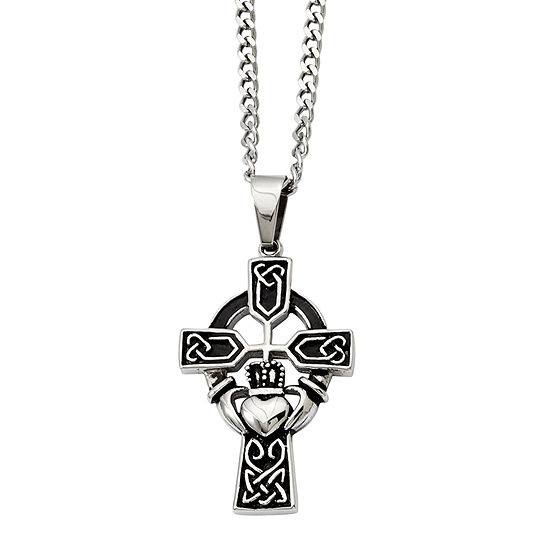 Mens Stainless Steel Antiqued Claddagh Pendant