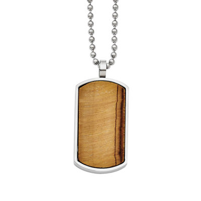 Mens Tiger's Eye Stainless Steel Dog Tag Pendant