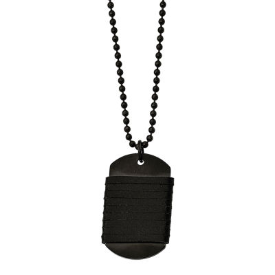 Mens Stainless Steel & Leather Dog Tag Pendant
