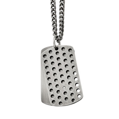 Mens Cubic Zirconia Stainless Steel Movable Dog Tag Pendant