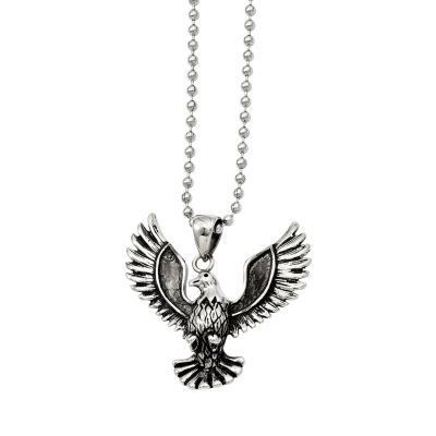 Mens Stainless Steel Antiqued Screaming Eagle Pendant