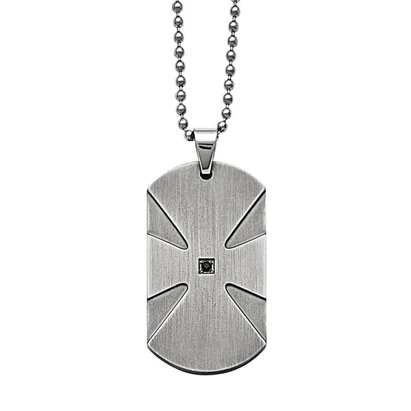 Fine Jewelry Mens Stainless Steel Argyle Texture Dog Tag Pendant Necklace yNvrA