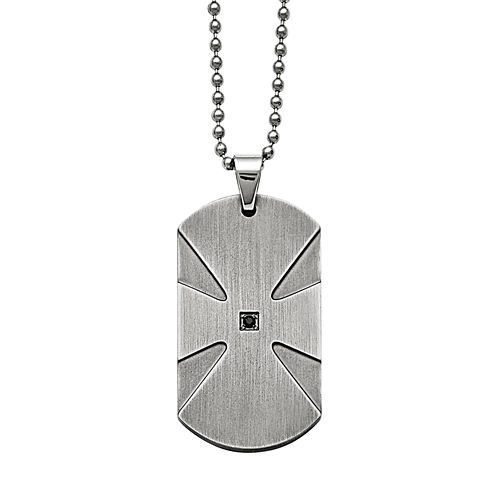 Mens Color Enhanced Black Diamond Accent Stainless Steel Dog Tag Pendant