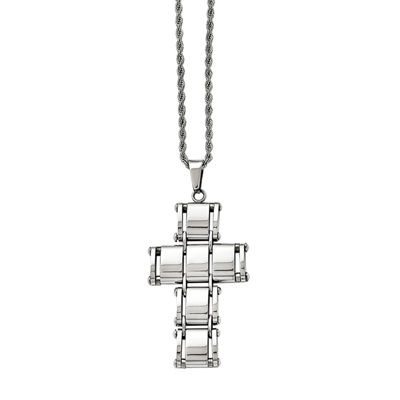 Mens Stainless Steel Moveable Cross Pendant