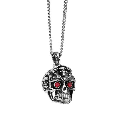 Mens Stainless Steel Antiqued Red Crystal Skull Pendant