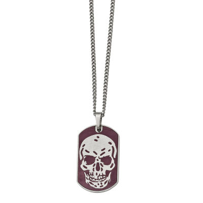 Mens Stainless Steel Brown Ion-Plated Skull Dog Pendant