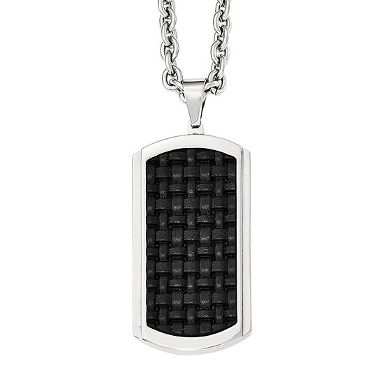 Mens Stainless Steel  Leather Inlay Dog Tag Pendant