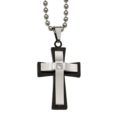 Mens Cubic Zirconia Stainless Steel Double Cross Pendant