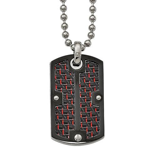 Mens Stainless Steel Black & Red Carbon Fiber Dog Tag Pendant