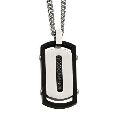 Mens Black Cubic Zirconia Stainless Steel & Black Ip Rim Dog Tag Pendant