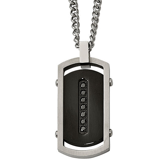 Mens Black Cubic Zirconia Stainless Steel & Black Ip Center Dog Tag Pendant