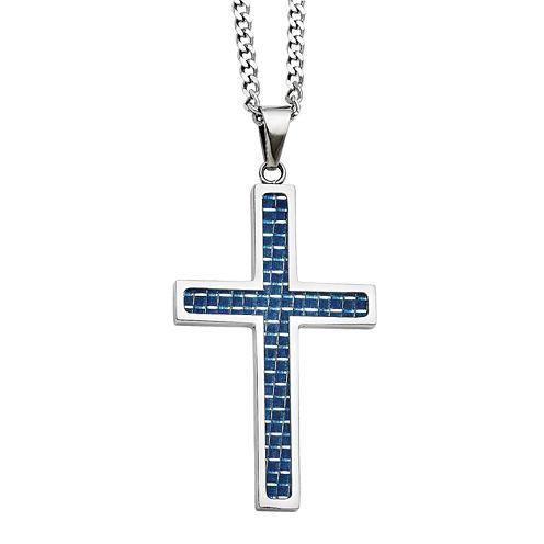 Mens Stainless Steel Blue Carbon Fiber Inlay Cross Pendant
