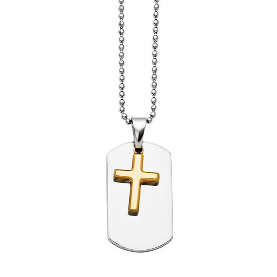 Mens Stainless Steel Yellow Ion-Plated Cross Dog Tag Pendant