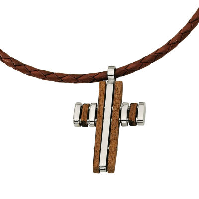 Mens Stainless Steel Wood Accent Cross Pendant