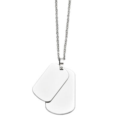 Mens Stainless Steel Double Dog Tag Pendant