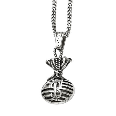 Mens Stainless Steel Antiqued Money Bag Pendant