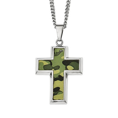 Mens Stainless Steel Green Camouflage Cross Pendant