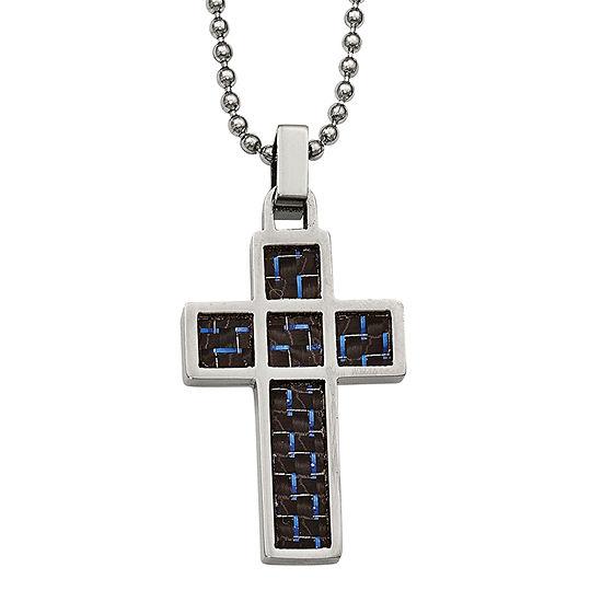 Mens Stainless Steel Black & Blue Carbon Fiber Cross Pendant