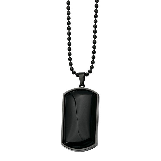 Mens Black Agate Stainless Steel Dog Tag Pendant