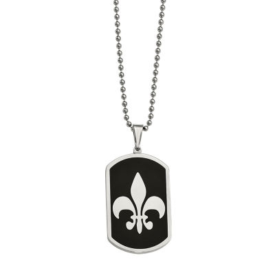 Mens Stainless Steel Fleur De Lis Dog Tag Pendant