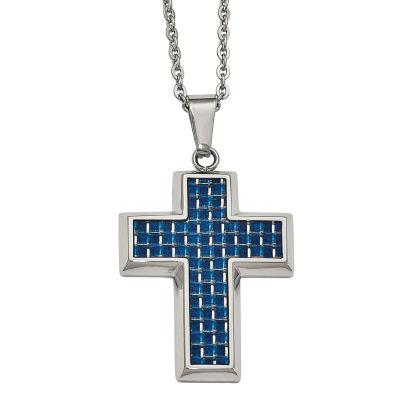 Mens Stainless Steel Blue Carbon Fiber Cross Pendant
