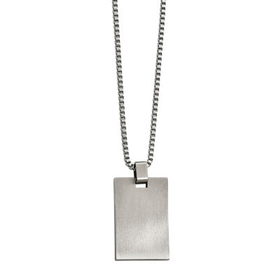 Mens Stainless Steel Rectangle Pendant
