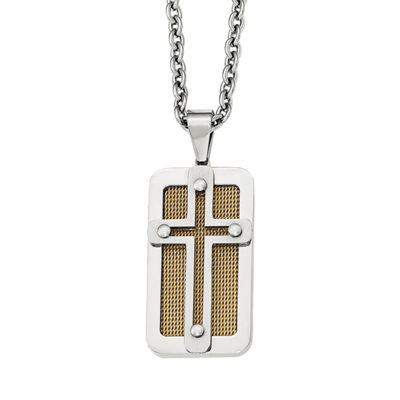 Mens Stainless Steel Yellow Ion-Plated Cross Pendant