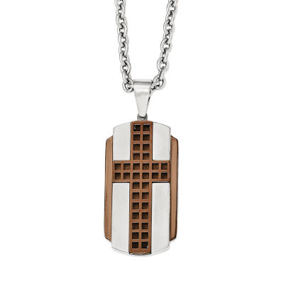 Mens Stainless Steel Brown Ion-Plated Cross Pendant