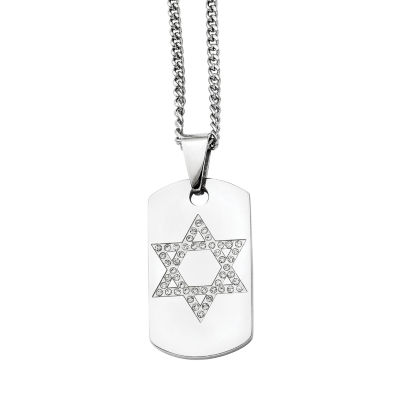 Mens Cubic Zirconia Stainless Steel Star Of David Dog Tag Pendant