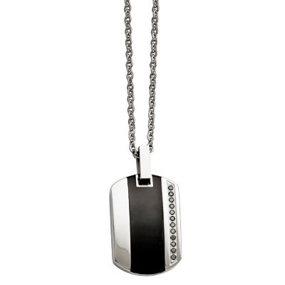 Mens Cubic Zirconia Stainless Steel & Black Ceramic Inlay Pendant