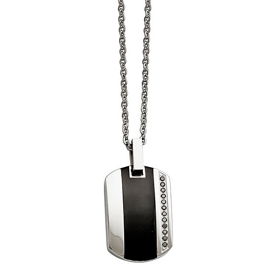 Mens Cubic Zirconia Stainless Steel Black Ceramic Inlay Pendant