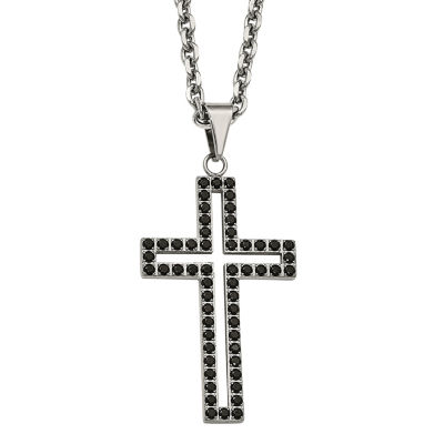 Mens Black Cubic Zirconia Stainless Steel Cross Pendant
