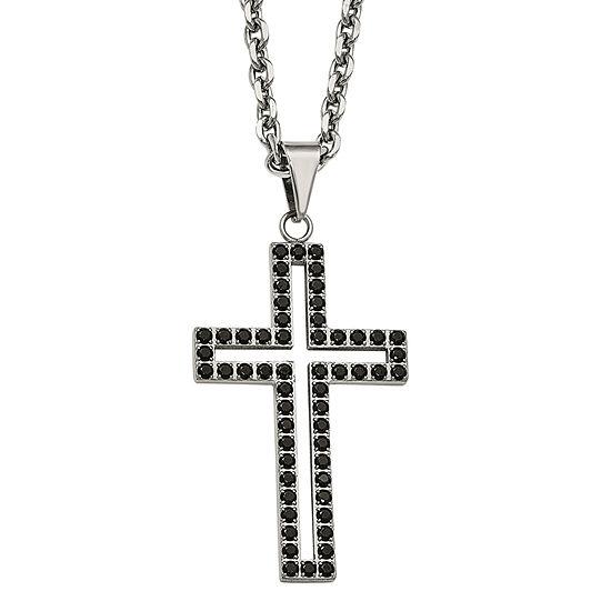 Mens Black Cubic Zirconia Stainless Steel Cross Pendant