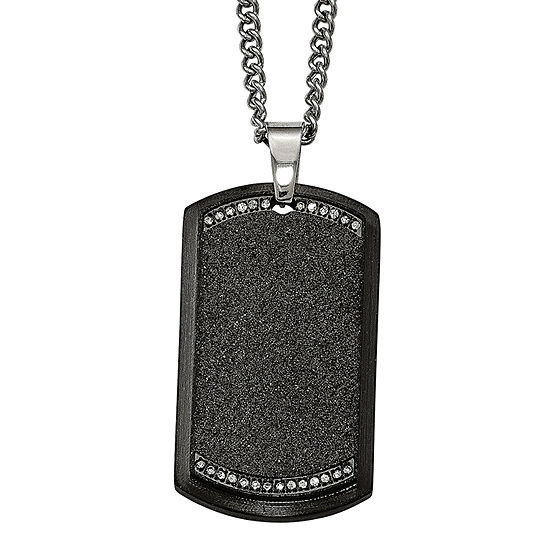 Mens Cubic Zirconia Stainless Steel Black Ion-Plated Cross Dog Tag Pendant