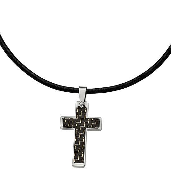 Mens Stainless Steel Black Carbon Fiber Cross Pendant