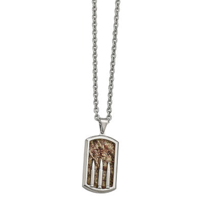 Mens Stainless Steel Enameled Camouflage Bullet Dog Tag Pendant
