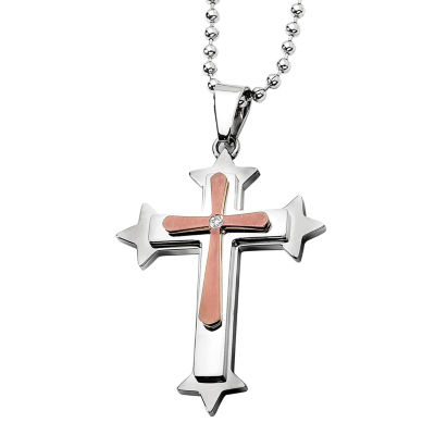 Mens Diamond Accent Stainless Steel Bronze Tone Ion-Plated Cross Pendant