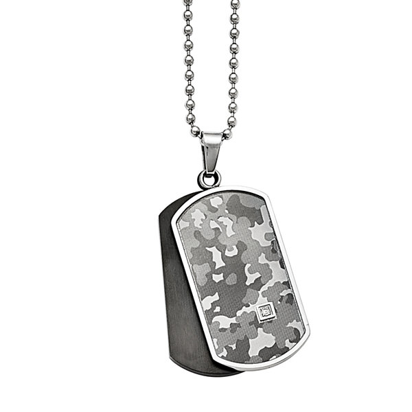 Mens Diamond Accent Stainless Steel & Black Ion-Plated Camouflage Pendant
