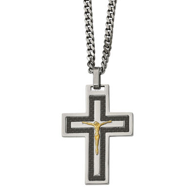 Mens Cubic Zirconia Stainless Steel Reverse Crucifix Pendant