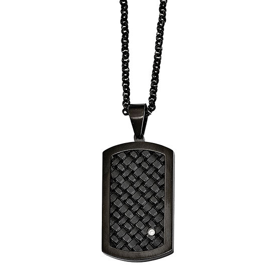 Mens Cubic Zirconia Stainless Steel & Black Leather Dog Tag Pendant