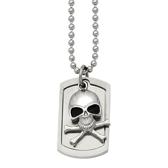 Mens Stainless Steel Antiqued Skull & Cross Bones Dog Tag Pendant